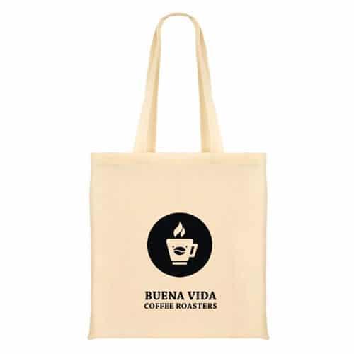 Jutebeutel mit Buena Vida Logo und Schrift auf weiß